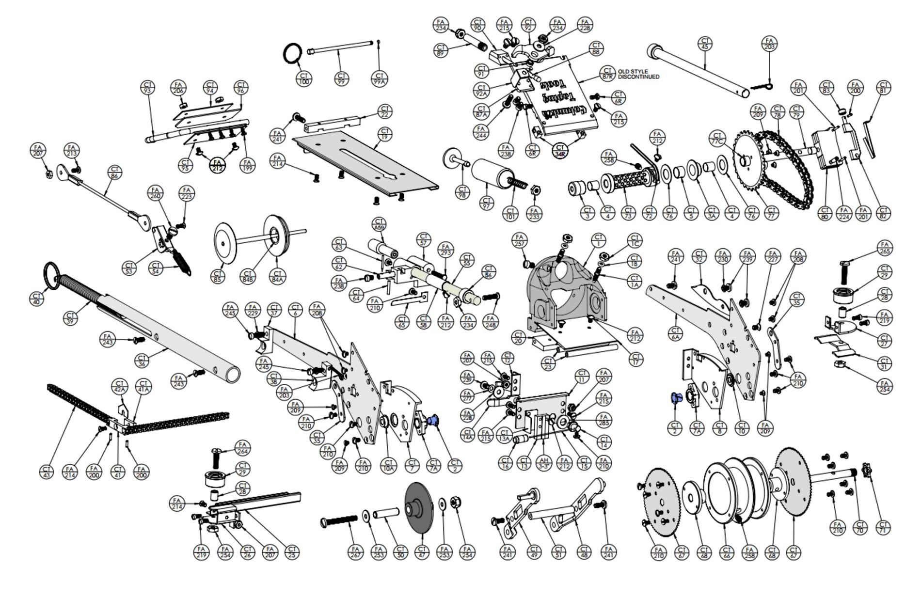 Taper Head Parts List