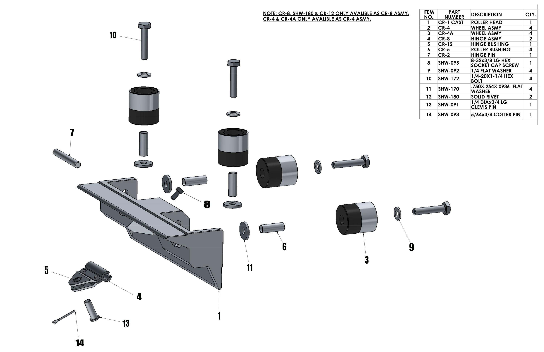 NorthStar Corner Roller Parts List